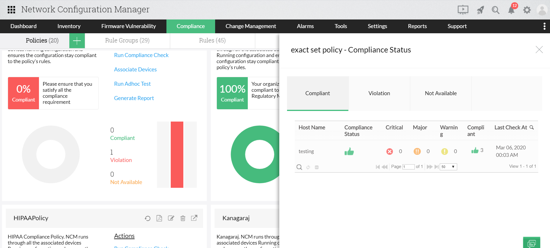 Audit compliance in Siemens Configurations - ManageEngine Network Configuration Manager